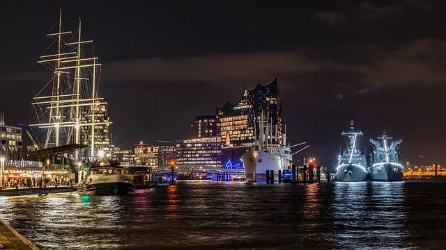 ハンブルグ港、エルベの夜景
